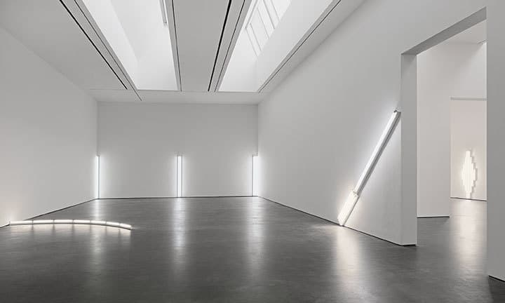 Dan Flavin in daylight or cool white, at David Zwirner, NY 2018