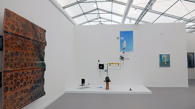 Works including Sara Sze at Frieze New York.
