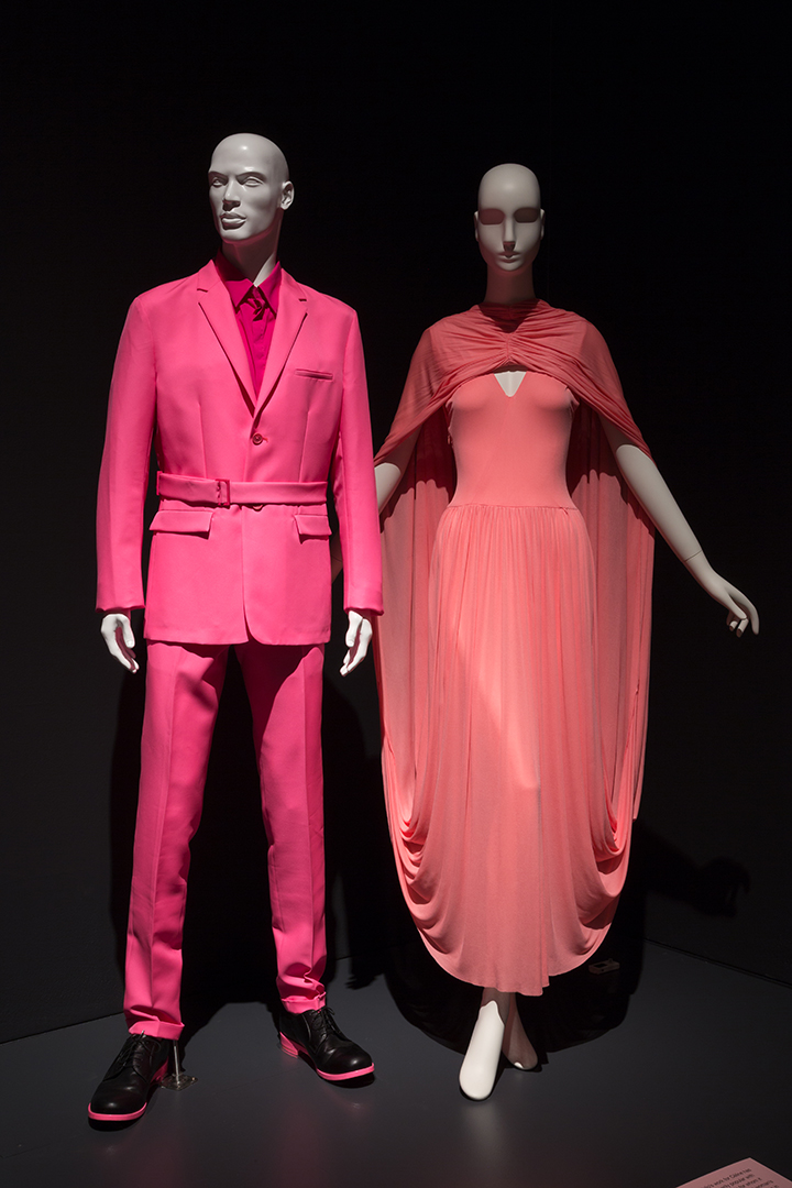 (Left to right) Raf Simons for Jil Sander, man's suit, polyester, cotton, nylon, and spandex, spring 2011. The Museum at FIT. Céline, synthetic knit dress, spring 2017. The Museum at FIT, Gift of Céline.